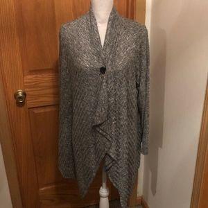 Dana Buchman Medium Gray Asymmetrical Cardigan